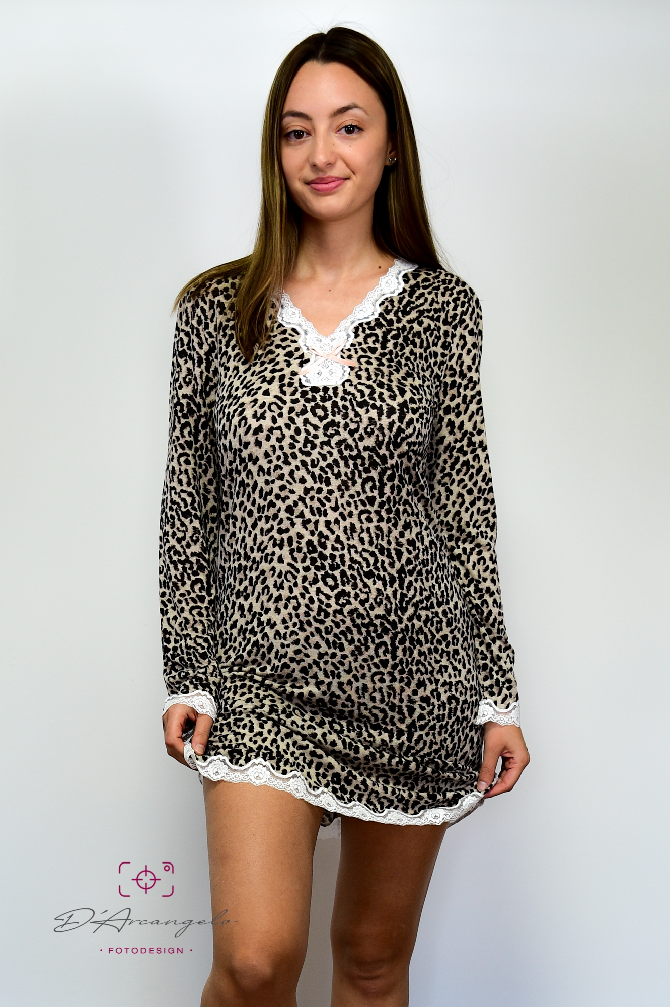 Nighty Dress Lace Leoprint