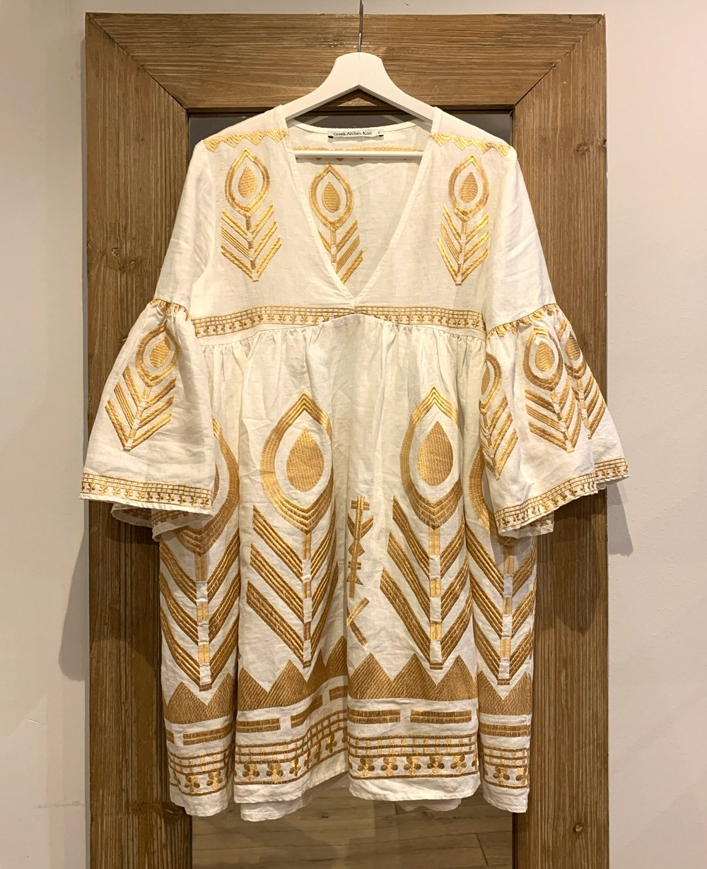 FEATHER LINEN DRESS WHITE/GOLD