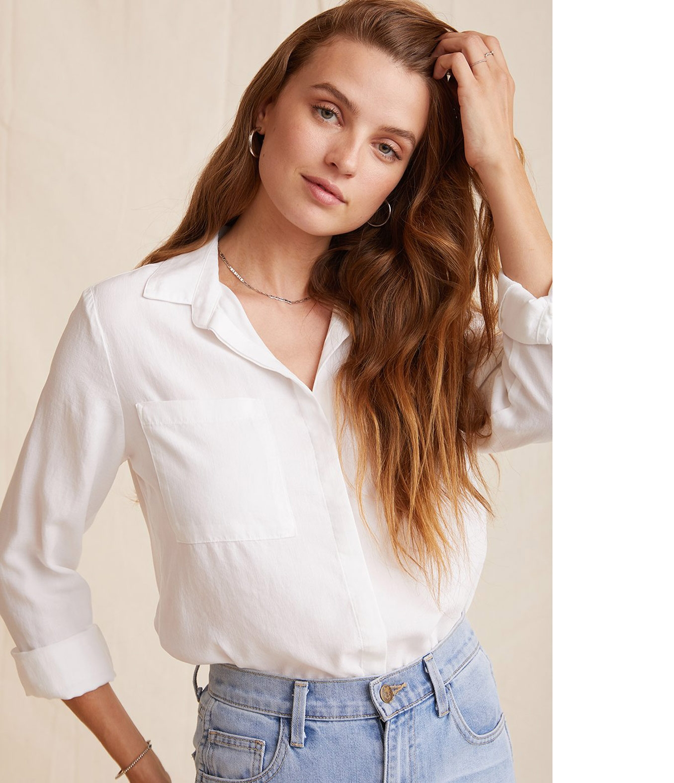 BLUSE TWO POCKET CLASSIC BUTTON DOWN