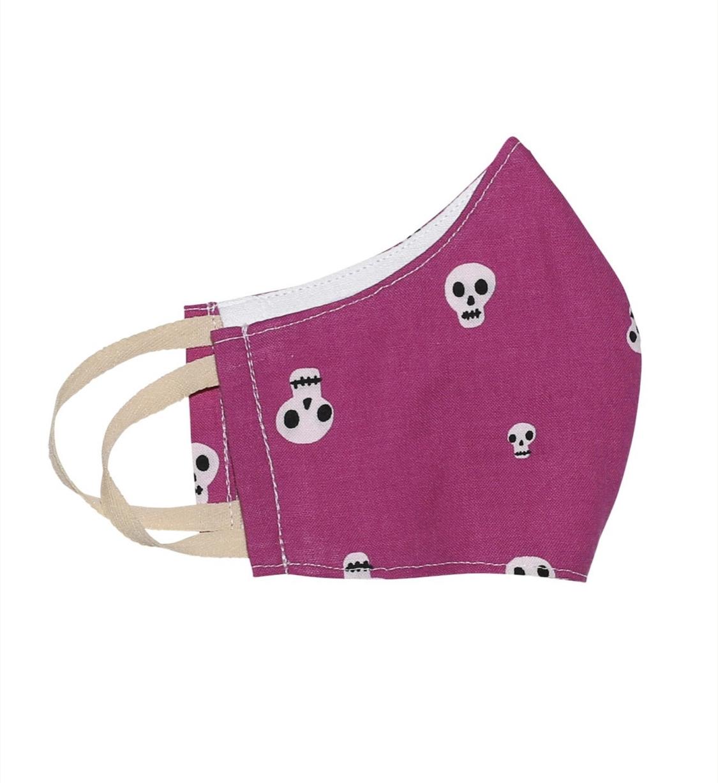 Kinder-Mund-Nasen-Maske - Skull-Pink