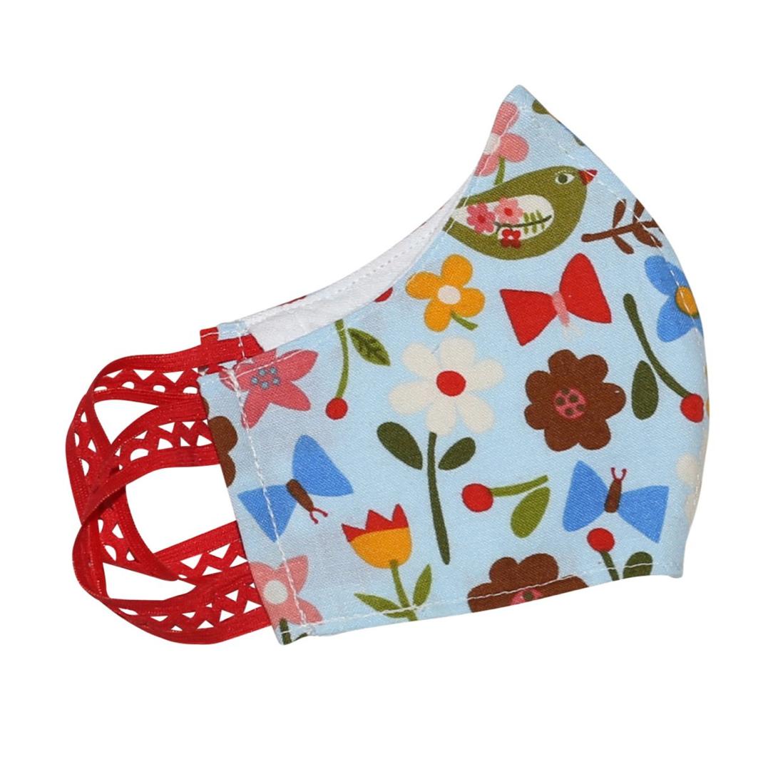 Kinder-Mund-Nasen-Maske - Blumen-Hellblau